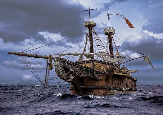 Старый парусный корабль в бурном море