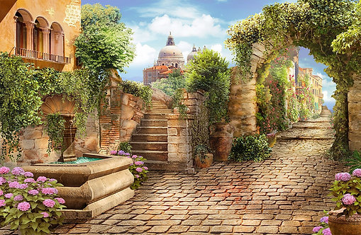 Фреска. Дворик в старом городе. Каменная арка. Цветы. Фонтан