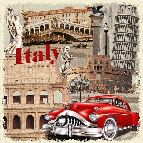 Винтажный постер с достопримечательностями Италии