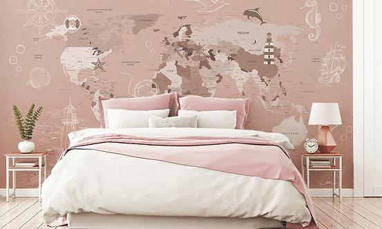 Фотообои. Карта мира на стену для детской. Коллекция JUNG