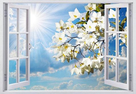 Вид из открытого окна на голубое небо и цветущую ветку