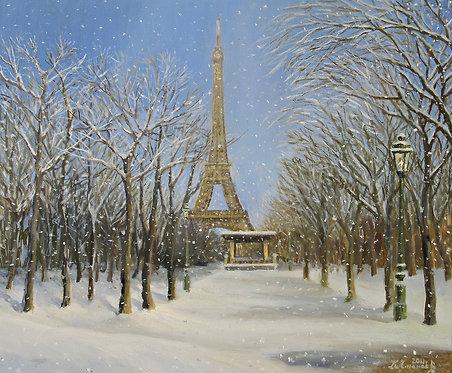 Живопись маслом на холсте - зимняя сцена со снегом в Парижа