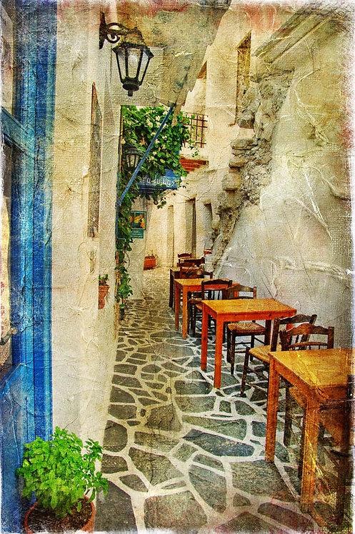 Традиционная греческая таверна в живописном стиле