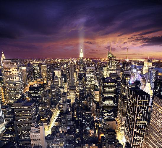 Манхэттен ночью после заката - Нью-Йорк