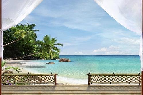 Фреска. Терраса. Пляж. Пальмы. Морской пейзаж