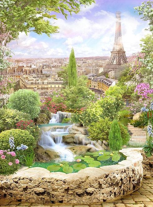 Фотообои. Фрески. Картины. Цветущий сад. Пруд. Водопад. Вид на Париж