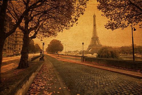 Винтажный вид Парижа в сумерках с набережной Сены и Эйфелевой башней