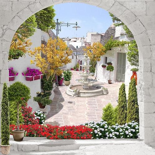 Фреска. Каменная арка. Фонтан. Цветы. Старая улочка