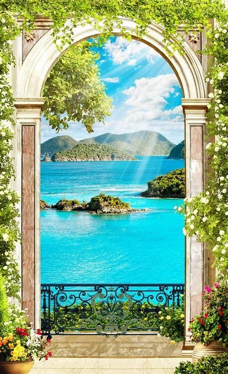 Фреска. Арка с цветами. Вид с балкона на море