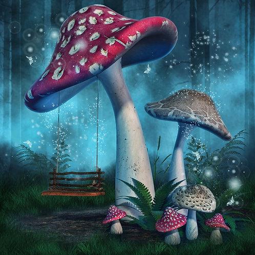 Волшебные мухоморы с качелями в сказочном лесу