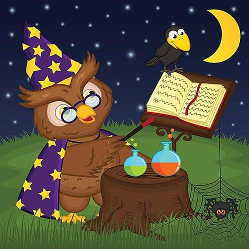 Сова-волшебник читает магическое заклинание