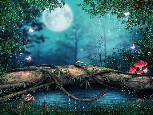 Заколдованный пруд в сказочном лесу