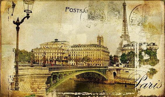 Винтажная открытка с Парижем