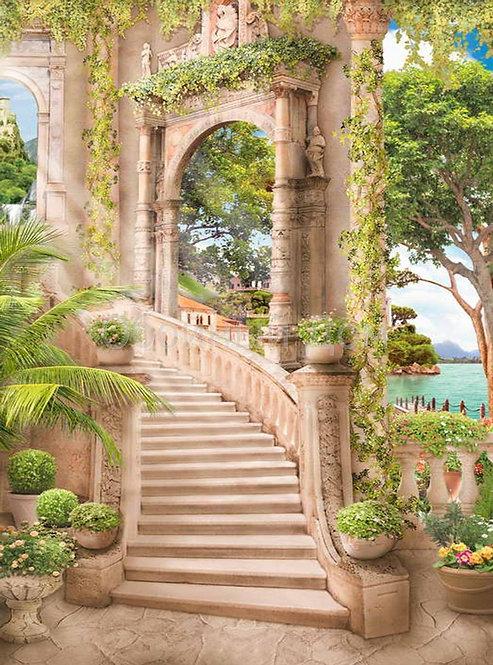 Фреска. Арки. Цветы. Каменные ступени. Балюстрада. Вид на море