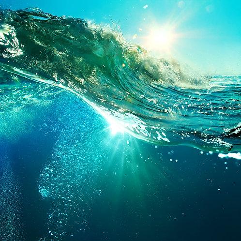 Гребнистая цветная волна океана во время заката