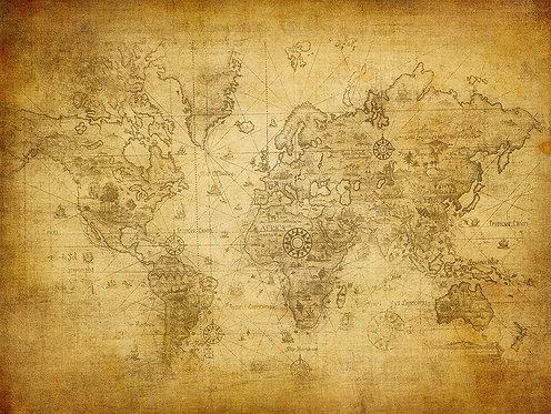 Древняя карта мира на пожелтевшей бумаге