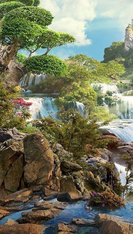 Морской пейзаж с видом на скалы и водопад