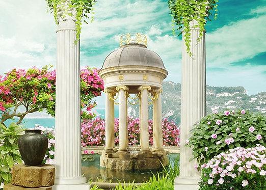 Фотообои. Фрески. Картины. Цветущий сад. Терраса с колоннами. Пруд. Беседка