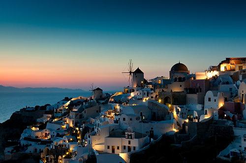 Фотообои. Фрески. Картины. Закат. Ия. Остров Санторини. Греция