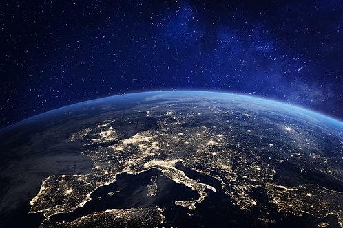 Фотообои. Фрески. Картины. Космос. Ночной вид на планету Земля