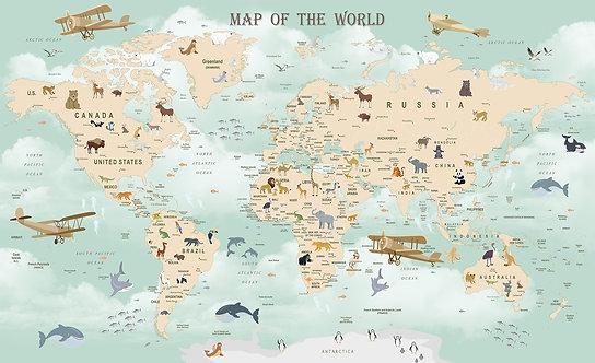 Детские обои. Карта с животными