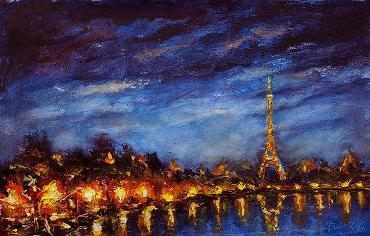 Городской пейзаж - Ночь в Париже и уличный фонарь - Картина маслом
