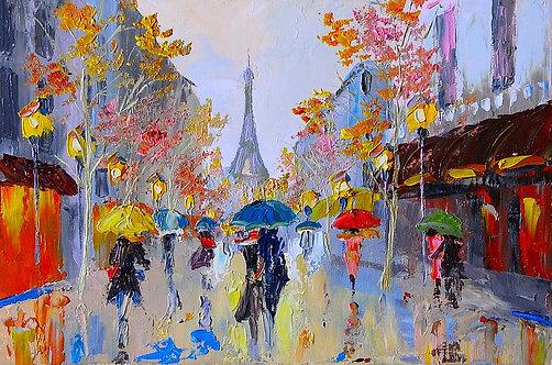 Эйфелева башня в Париже - живопись маслом