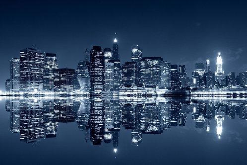 Манхэттен ночью - Бруклин, Нью-Йорк