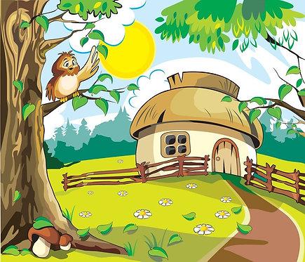 Домик за городом и сова на дереве