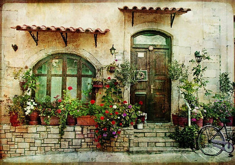 Греческий дворик в стиле ретро