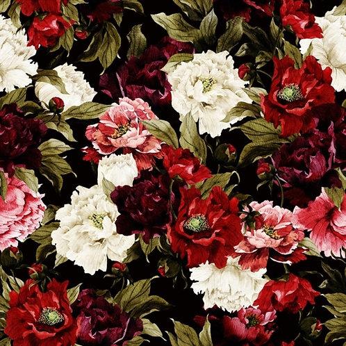 Цветочный орнамент с розами на черном фоне акварелью
