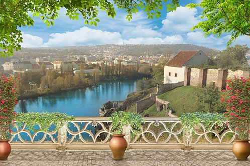 Фреска. Терраса. Балюстрада. Цветы. Река. Вид на Прагу. Панорамный пейзаж