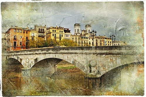 Вид на Жирону и мост в живописном стиле