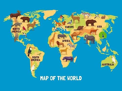 Детская карта мира с животными и названиями материков