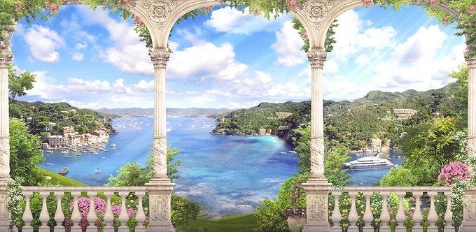 Арка. Классические белые колонны. Цветы. Вид на море