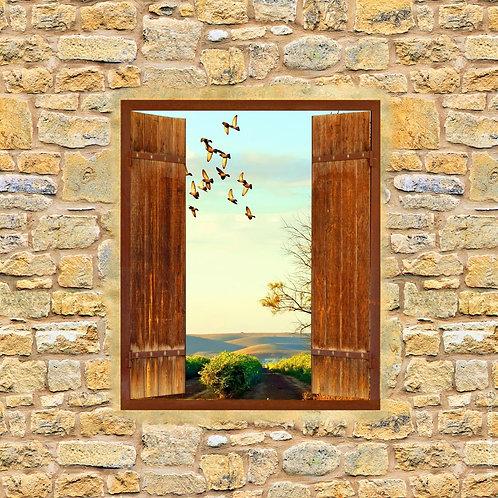 Окно с открытыми ставнями в каменной стене с видом на природу
