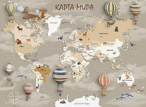 Фотообои. Карта для детей на стену