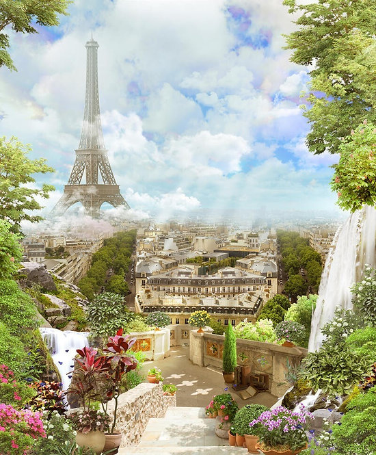 Фотообои. Фрески. Картины. Цветущий сад. Водопад. Вид на Париж и Эйфелеву башню