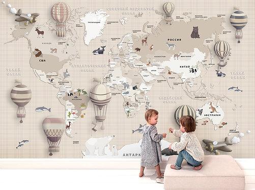 Обои. Карта мира на стену для детской. Коллекция LAGUNA