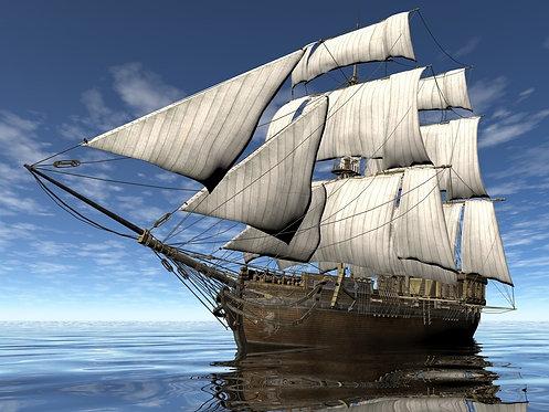 Старинный парусный корабль в море