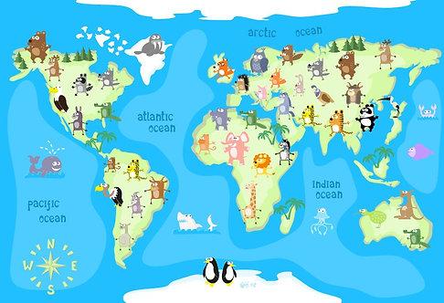 Детская карта мира с животными на континентах и названиями океанов