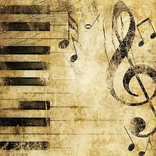 Винтажный музыкальный фон с клавишами и нотами в стиле гранж