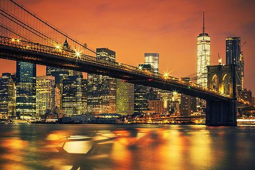Манхэттен на закате и Бруклинский мост - Нью-Йорк