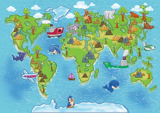 Детская карта мира с животными на континентах