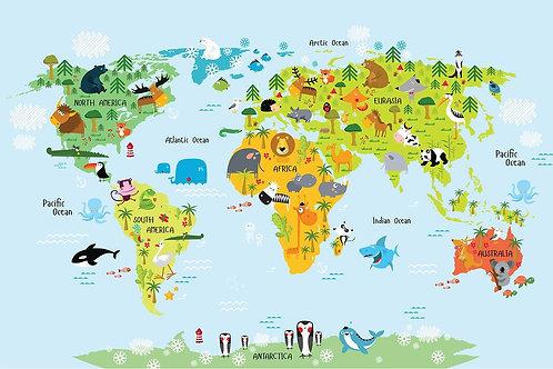 Детская карта мира с животными и названиями континентов и океанов