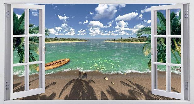 Вид из открытого окна на океан и пляж с лодкой