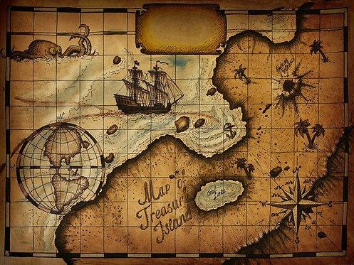 Детская карта с островом сокровищ в ретро-стиле