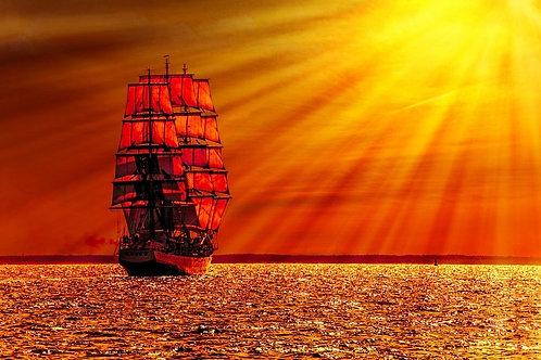 Парусное судно на море во время заката