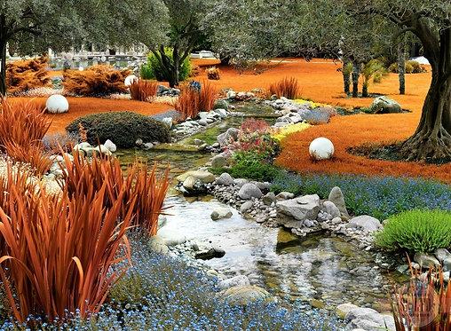 Фотообои. Фрески. Картины. Осенний японский сад. Ручей. Камни. Природа и пейзажи