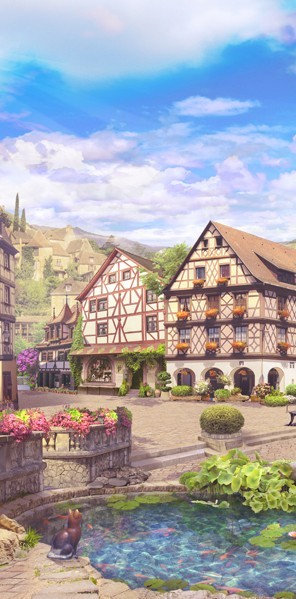 Фотообои. Фрески. Картины. Старый город. Улочки и дворики. Цветы. Пруд